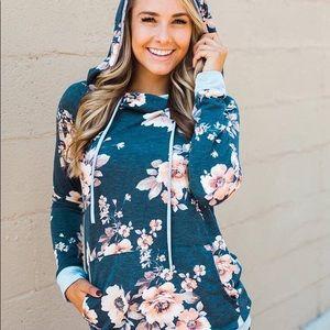 Tops - Blue floral hoodie